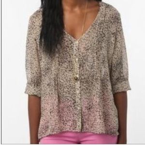 Anthropologie Pins and Needles Leopard Top